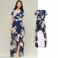 Buy cheap custom make your high quality chiffon wrap dress with floral print from wholesalers