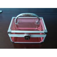 Buy cheap Aluminum Handle Acrylic Storage Boxes Pink Acrylic For Cosmetics Display product