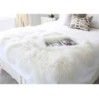 120*180cm Long Wool Real Mongolian Fur Fabric , White Sheepskin Rug For Nursery