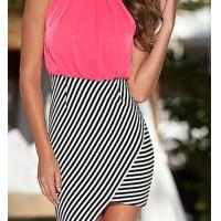 Buy cheap Polyester spandex stripped color block panelled middle lengh wholesale plus size dress from wholesalers