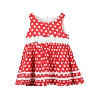 Quality summer polka dot red baby girl dress f003 for sale