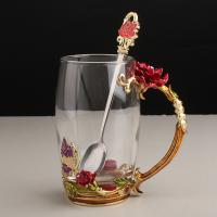 Buy cheap Creative Red Rose Carved Enamel Crystal Glass Water Cup for Sale from wholesalers