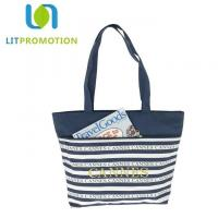 Buy cheap 600D City Name Souvenir Personalized Beach Tote , Blue And White Striped Beach Bag from wholesalers