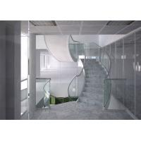 Buy cheap Marble steps stainless steel curved staircase indoor design product