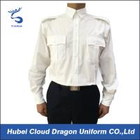 Buy cheap US Market 100% Cotton Security Guard Shirts , White Long Sleeve Shirt Flat Pocket from wholesalers