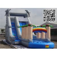 Buy cheap Fire Resistant Inflatable Bouncy Castle With Slides Small Pool Plam Tree from wholesalers