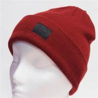 Buy cheap Spandex Wool Crochet Knit Pom Pom Beanie With Embroidery Triangle Leather Logo from wholesalers