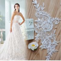 Buy cheap Apparel  Accessories Ivory  Embroidery  Cord Lace Applique for Bridal Dress from wholesalers