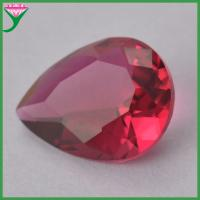 Buy cheap 6*8mm artificial rose red pear shape loose crystal glass gemstone from wholesalers