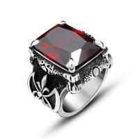 Buy cheap Cool Women 316 Stainless Steel Rings With Stones , Red Stone Vintage Engagement Rings from wholesalers