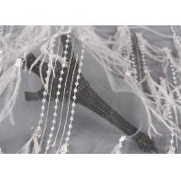 Buy cheap High End Tulle Hand Beaded Mesh Lace Fabric Wedding Ostrich Feather Glitter Plain Style from wholesalers