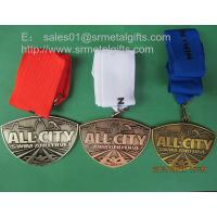 Buy cheap Embossed swimming medals with lace ribbon, blank swimming winner metal medals, from wholesalers