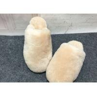 Buy cheap Indoor Fluffy Sheep Wool Slippers Handmade With Rubber Sole / Real Lambskin Fur from wholesalers