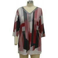 Women'S V Neck Long Sleeve T Shirts , Womens Baggy T Shirts Shiny Beaded Decoration