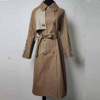 Buy cheap Double - Breasted Long Belted Checkered Trench Coat For Spring And Autumn product