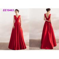 Buy cheap Ladies Formal Long Red Prom Dresses , Satin Backless Evening Gowns Sleeveless from wholesalers
