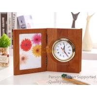 Buy cheap Good Quality Home/Office Decoration Matte Walnut Photo Frame Desk Top Table Clock, Small Order, Quality Guarantee from wholesalers