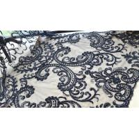 Buy cheap Black Heavy Beaded Mesh Fabric By The Yard , Embroidered Net Fabric With Beads from wholesalers