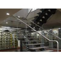 Buy cheap U Shape Tempered Glass Stair Railings Interior , Steel Staircase With Wood Treads from wholesalers