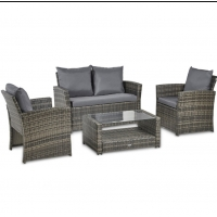Buy cheap 4 Pieces Outdoor Patio Furniture Sets Rattan Chair Wicker Conversation Sofa Set from wholesalers