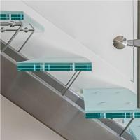 Buy cheap Modern Interior Mono Stringer stairs / Laminated Glass Treads Stainless Steel round Staircase from wholesalers