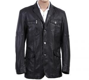 Buy cheap Custom Western Luxury, Size 46, Size 54, Black Fashionable Mens Leather Blazers product