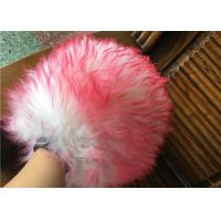 Buy cheap Household Red Color Sheepskin Car Wash Mitt With Long Hair / Both Side Wool from wholesalers