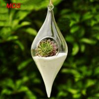 Buy cheap Transparent glassware olive shape hanging glass vase for home ornaments from wholesalers