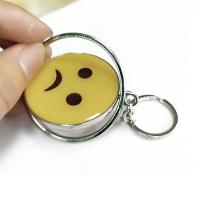 China Smiling Face Custom Logo Keychains Yellow Circle With Eco-friendly Metal on sale
