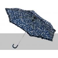 Flat Compact Sun Protection UmbrellaLeather Curved Handle 190T Polyester Fabric