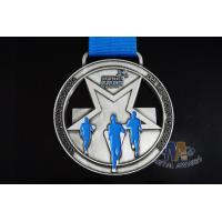 Buy cheap 2D Silver Design Running Race Medals , Custom Insert Medals With Blue Enamel Color from wholesalers