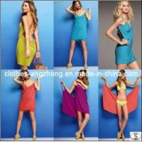 Buy cheap Solid Color Deep V-Neck Sun Crossing Beach Dress Clothes One Piece Skirt Bikini from wholesalers