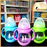 Buy cheap 150ml glass baby bottle with handle and cover from wholesalers