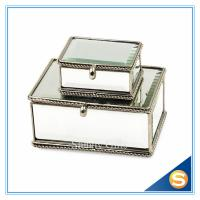 Buy cheap Vintage Glass gift box for jewerly Trinket Box Brass Glass Dried Flower Box Mirror Bottom from wholesalers