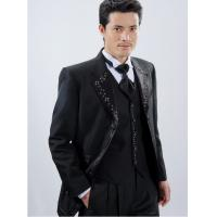 Buy cheap Anti - Wrinkle Wool / Polyester Men' s Wedding Suit Slim Fit Tuxedo with Lapel Emroidery from wholesalers