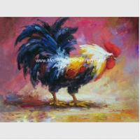 Acrylic  Animal  Palette Knife Oil Painting Handmade Cock Thick Oil On Canvas