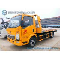 Buy cheap Sino HOWO Yellow 4 Ton Platform Right Hand Drive truck / Car Carrier Euro 4 Single Cab from wholesalers