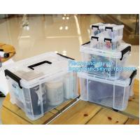 Buy cheap eco-friendly transparent plastic container multipurpose storage box for home, Clear Box with a White Lid and Black Latch from wholesalers