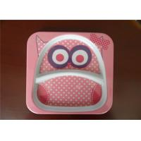 Cute Square Melamine Plates Custom Cartoon Printing With Rice Husk Natural Fiber Material