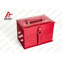 Personalized Red Cosmetic Paper Box Drawer Style With Crocodile Leather / Black NWPP