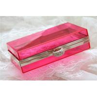 Buy cheap Red Party acrylic makeup storage boxes / perspex boxes Eco-Friendly from wholesalers