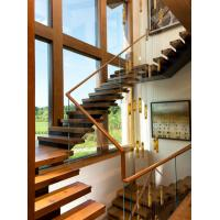 Buy cheap Wooden staircase straight stair with laminated glass railing modern design product