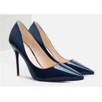 Buy cheap Spring Autumn Womens High Heel Pumps Dark Blue Stiletto Shoes For Wedding from wholesalers