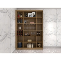 Buy cheap Wine Cabinets For Home Used Of MDF Board In Wall Storage Units With Glass Shelves And built in wine rack in cabinets from wholesalers