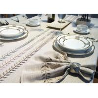 Buy cheap 100% Linen Cotton Tablecloths , Country Style Leaves Vintage Embroidered Tablecloth from wholesalers