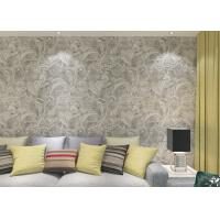 Buy cheap Eco - Friendly Silver Vinyl Removable Wallpaper With Floral And Leaf  Pattern , 0.53*10M product