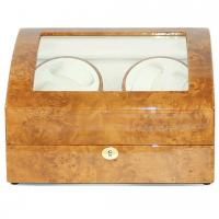 Buy cheap Burlwood Finish Lockable Four Watch Winder With Storage for Six Watches from wholesalers