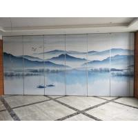 Buy cheap Collapsing Landscape Painting Leather Wooden Movable Partition Walls For Hotel from wholesalers