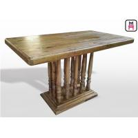 Buy cheap Vintage Rectangle Commercial Restaurant Tables With Rustic Solid Wood Roman Column from wholesalers