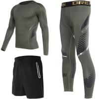 Buy cheap Compression Tight Sport Suit For Man Green / Black Breathable High Elasticity from wholesalers